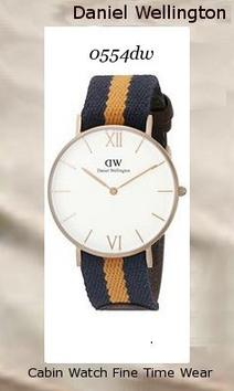 Product Specifications Watch Information Brand, Seller, or Collection Name Daniel Wellington Model number 0554DW Part Number 0554DW Model Year 2014 Item Shape Round Dial window material type Mineral Display Type Analog Clasp Buckle Case material Stainless steel Case diameter 36 millimeters Case Thickness 6 millimeters Band Material Nylon Band length Unisex Band width 20 millimeters Band Color multi Dial color White Bezel material Stainless steel Bezel function Stationary Special features Second hand Item weight 16 Ounces Movement Quartz Water resistant depth 99 Feet,daniel wellington