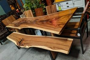 Full Single Live Edge Slab Wood Dining Tables