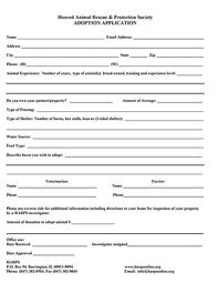 HARPS Adoption Application