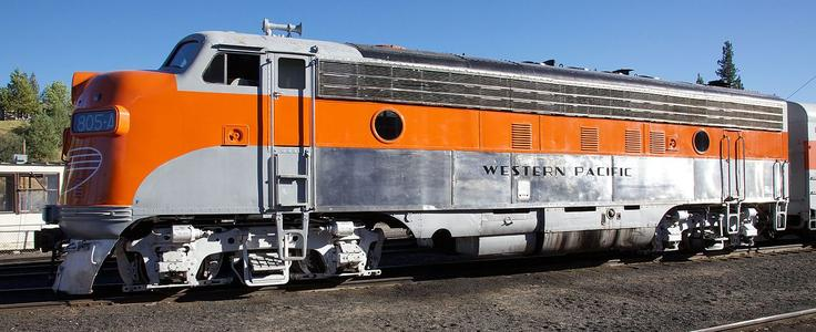 WP 805-A displayed in Western Pacific Railroad Museum, Portola, CA.