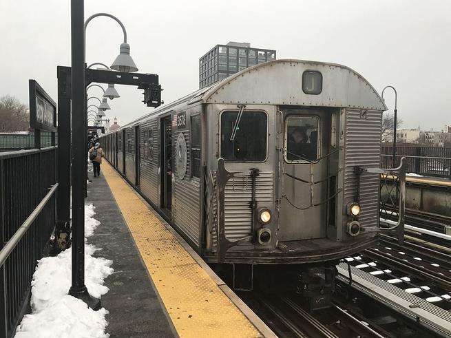 An R32 train on the J at Marcy Avenue.