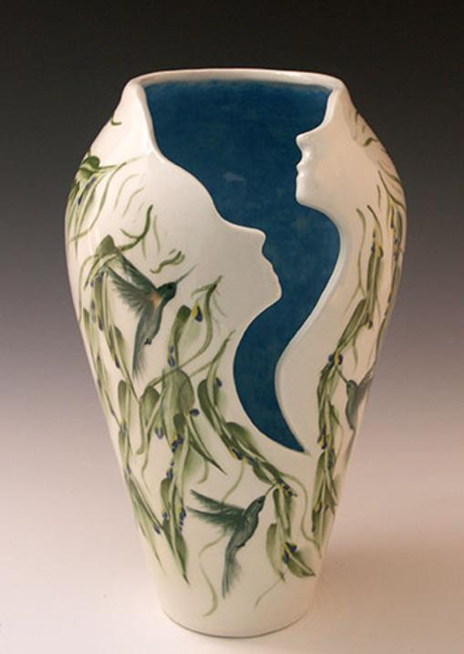 Hummingbird Vase With Human Faces Handmade One Of A Kind Gift For