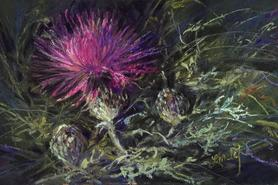 A Thistle in Time, miniature pastel painting purple thistle by Lindy C Severns