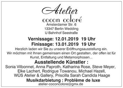 Group Exhibition. See new paintings by artist Orfhlaith Egan at Atelier Cocon Colore 12 & 13.01.2019. Berlin, Germany.