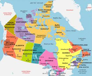 Map of Canada with Capital Ottawa and Provinces | Canadian PESC User Group | The Authoritative Group within PESC to Represent Canadian Interests
