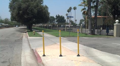 Removable bollards at CBU campus