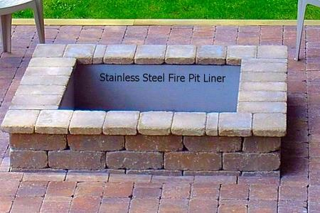 Stainless Steel Square Fire Pit With NO Top Flange - Square Fire Pit Liner