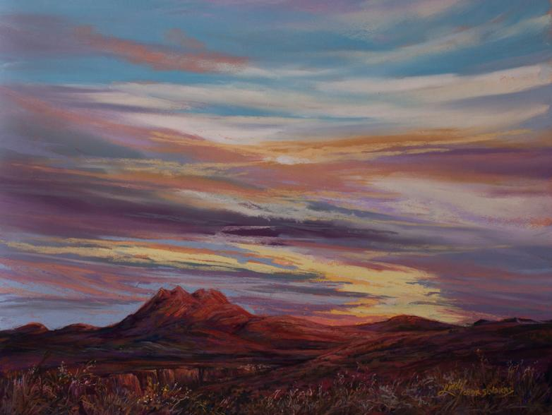 Peaceful Easy Feeling, original pastel landscape painting by Big Bend Artist Lindy C Severns shows Alpine TX Twin Peaks at sunset
