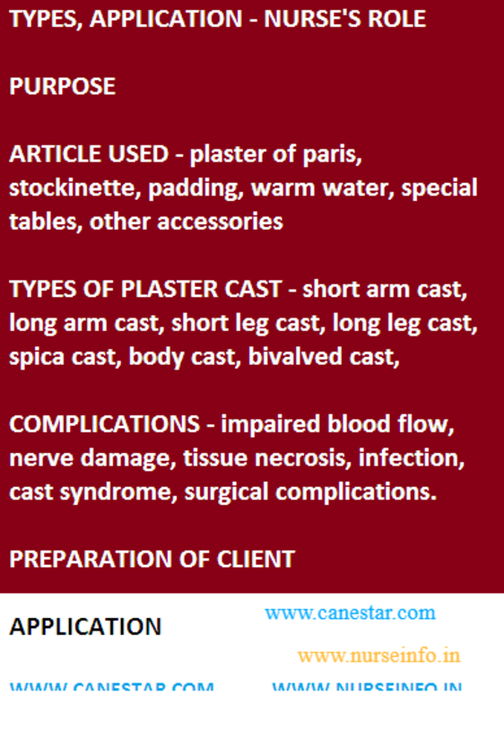 Plaster casts - types, application, purpose, nurse
