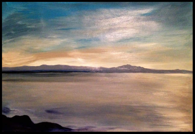 Clew Bay. 30x40cm. Seascape in Violet and Grey, November 2017. Acrylic paint and varnish on paper. Original contemporary Impressionist blue and gray seascape painting by Irish artist Orfhlaith Egan.