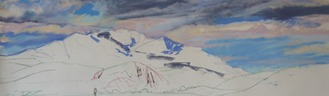 Beginning stages of the pastel landscape painting Broken Sky Over Blue Mountain by Lindy C Severns