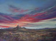 The Earth, The Sky and The Mountain Between, Mitre Peak sunset pastel painting by Lindy C Severns