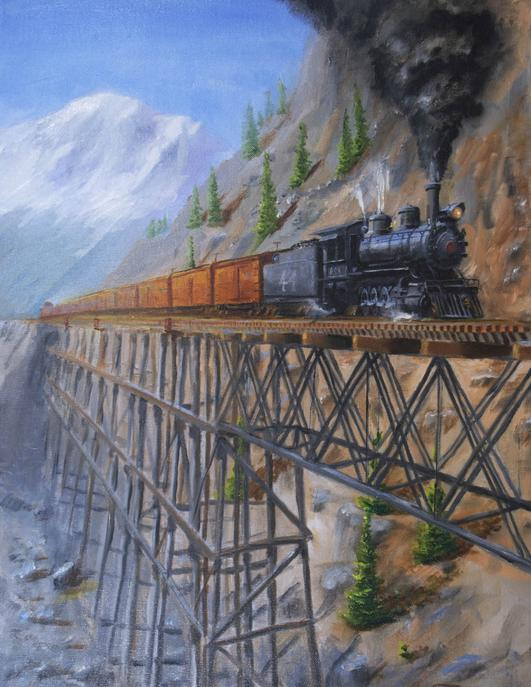 narrow gauge railroad train bridge painting Rio Grande Southern high line