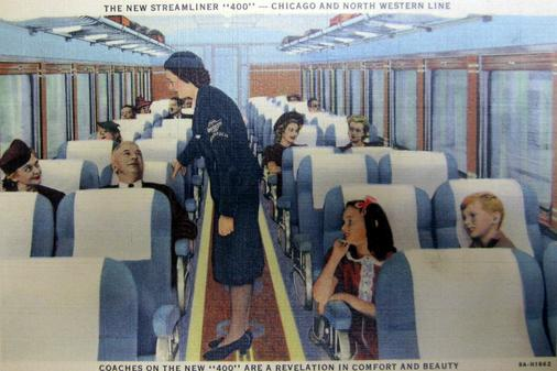 Coach car and Stewardess on the C&NW 400.