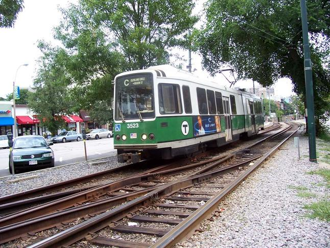 "Boeing Vertol USSLRV No. 3523 in service for the MBTA on the Green Line ""C"" Branch, bound for Cleveland Circle, in 2005."