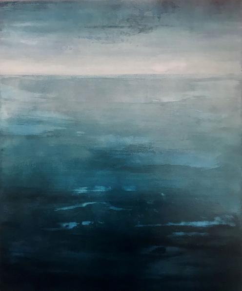 Blue Atlantic. 2020. 60x50cm. Acrylic on canvas seascape painting by Orfhlaith Egan Berlin and Cornamona.