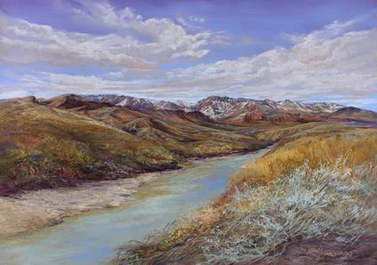 Snowy Peaks on the Rio Grande, pastel landscape painting by Big Bend Artist Lindy C Severns. Original southwestern art for sale. Old Spanish Trail Studio, Fort Davis, TX