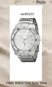 Watch Information Brand, Seller, or Collection Name U.S. Polo Assn. Model number USC80223 Part Number USC80223 Item Shape Round Dial window material type Glass Display Type Analog Clasp Fold over clasp Case material Metal Case diameter 43 millimeters Case Thickness 10 millimeters Band Material alloy Band length Men's Standard Band width 22 millimeters Band Color Silver Dial color Silver Bezel material Metal Bezel function Stationary Special features Easy read face, Adjustable clasp Movement Analog quartz