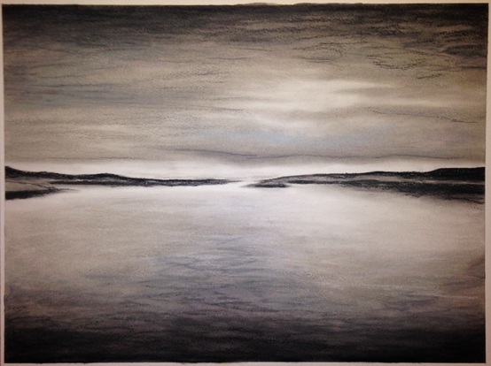Grey Light. 42x56cm. Chalk pastel on paper 300grm. Contemporary grey and black seascape drawing by Irish artist Orfhlaith Egan. Currently on view at Caffetteria Buchhandlung, Tucholskystr. 32, 10117 Berlin-Mitte. May 2018.