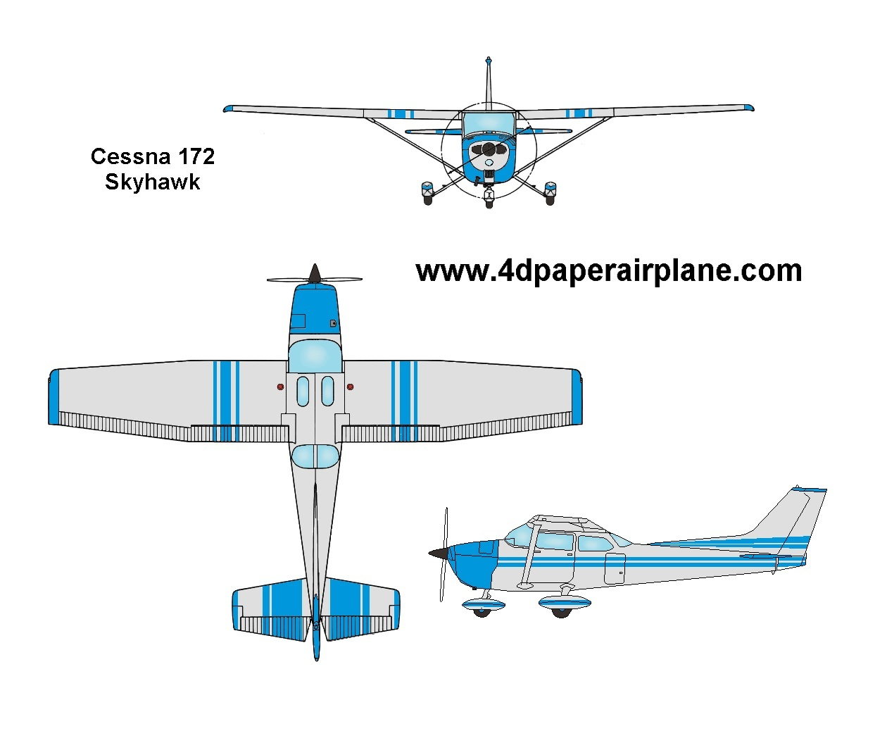 4d Paper Airplane Template Aircraft Cessna 172 Engineering Schematics Model Of