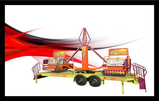 supersonic rental ride for sale on red background