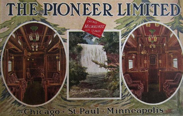 Postcard promoting the Milwaukee Road's Pioneer Limited, ca. 1910.