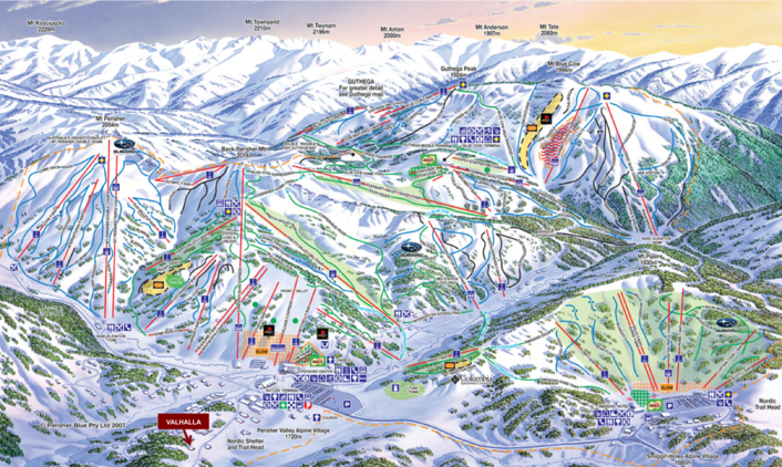 Perisher Valley and Resort village map