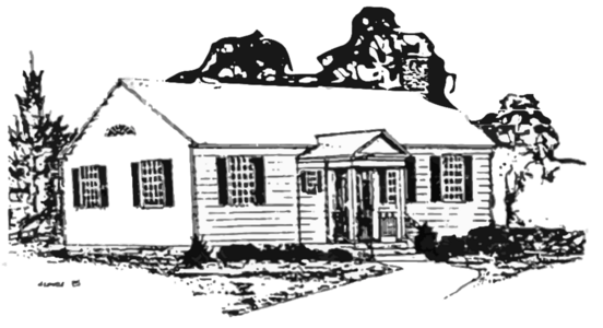 Drawing of the Jordan Park House, Waterford, Connecticut