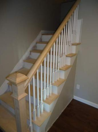 staircase before painting and staining.