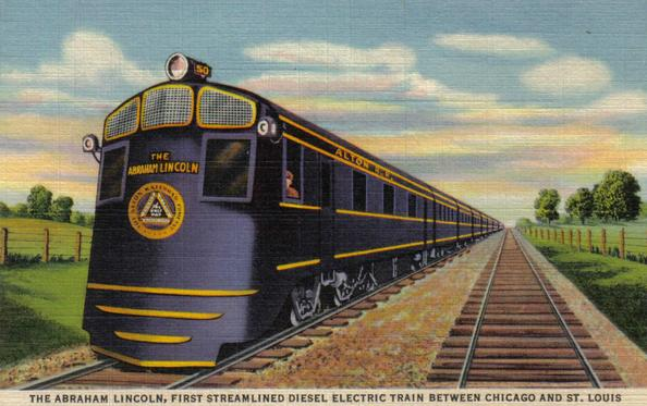 The Shovel-nosed Chicago and Alton No. 50 powering the Abraham Lincoln.