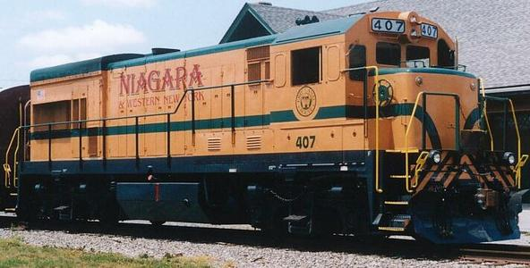 GE U18B NIAX 407 on lease to the Niagara & Western New York Railroad, July 2002.