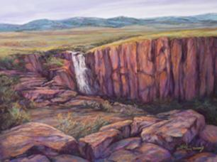 "North Clear Creek Falls in ""Rocky Mountain Champagne"" 12 x 16 pastel by Lindy C Severns"