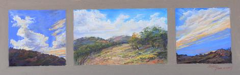 Morning Noon and Night on the Ranch three tiny pastels on a single panel by Lindy C Severns