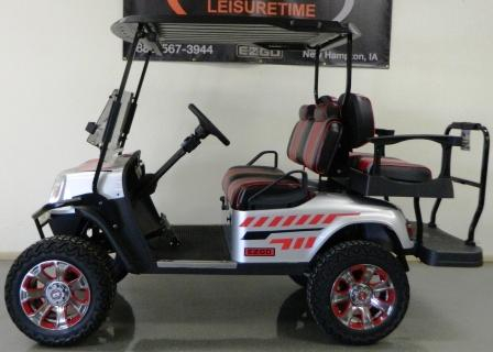 Pre-Owned Cars | Leisure Time Golf Cars on blue hot tub, golfers in cart, blue car,