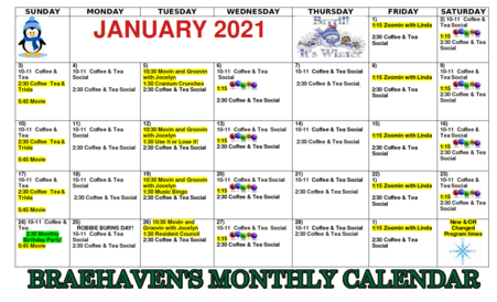 Braehaven Calendar of Events for January 2021