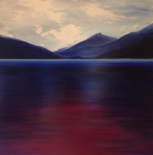 Lake of Violet 60x60cm. Acrylic paint and high gloss varnish on wooden panel. Original contemporary violet and blue landscape painting by Irish artist Orfhlaith Egan. The landscape of my childhood combined with realism and fantasy. Art of the imagination. Flash photography art inspiration.