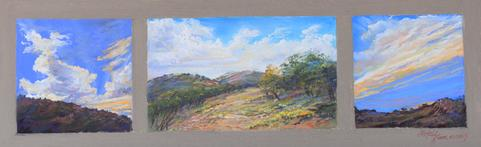 Morning, Noon and Night on the Ranch, mini pastel triptych by Lindy C Severns