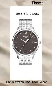 Watch Information Brand, Seller, or Collection Name Tissot Model number T0636101106700 Part Number T0636101106700 Model Year 2011 Item Shape Round Dial window material type Synthetic sapphire Display Type Analog Clasp deployment-clasp-with-double-push-button Case material Stainless steel Case diameter 42 millimeters Case Thickness 9 millimeters Band Material Stainless steel Band length Men's Standard Band width 2.25 millimeters Band Color Silver Dial color Anthracite Bezel material Stainless steel Bezel function Stationary Calendar Date Special features Luminous, Second hand Movement Quartz Water resistant depth 330 Feet