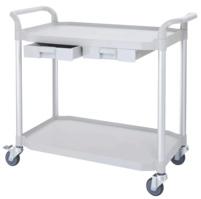 2 shelf plastic utility carts with plastic drawers