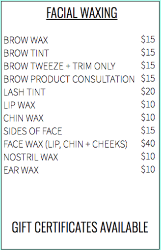 Facial Waxing Pricing in Edmond and OKC