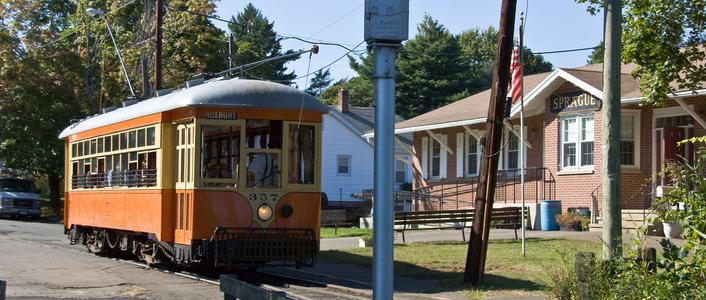 The main Shore Line Trolley Museum building on River Street.