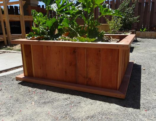 "4'x4'x18"" Redwood planter, redwood planter, redwood container, planter bed, planter beds."