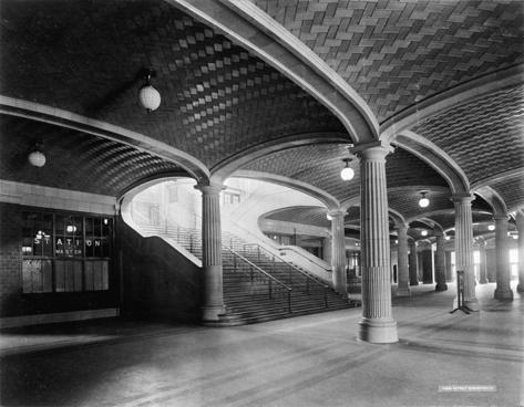 Lobby stairs to waiting room and concourses, C. & N.W. Ry., Chicago, Illinois, circa 1912 .
