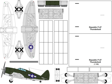 4D model template of Republic P-47 Thunderbolt