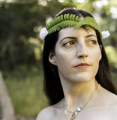 elven queen, crown, sword fern crown, flowers, floral, woodland, elf, wildish crown