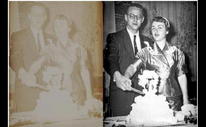 Before and After phot restoration of wedding couple cutting cake