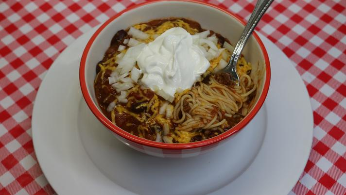 Chili Spaghetti, Leftover Makeover Recipe, Noreen's Kitchen
