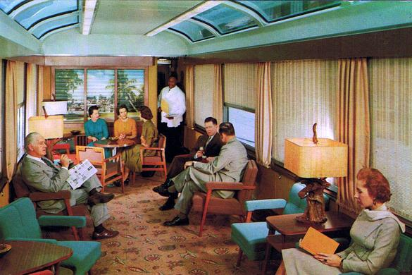 Interior of the Seaboard Air Line Sun Lounge car.