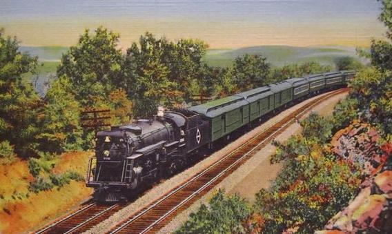 "The ""Erie Limited"" speeding through the mountains near Port Jervis, New York."