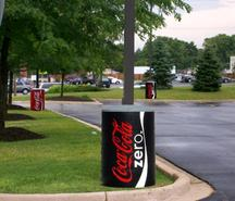 colorful light pole base cover wrap adds a branding image